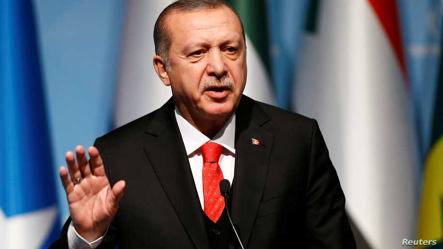 Turkish President Tayyip Erdogan speaks during a news conference in Istanbul, Turkey.