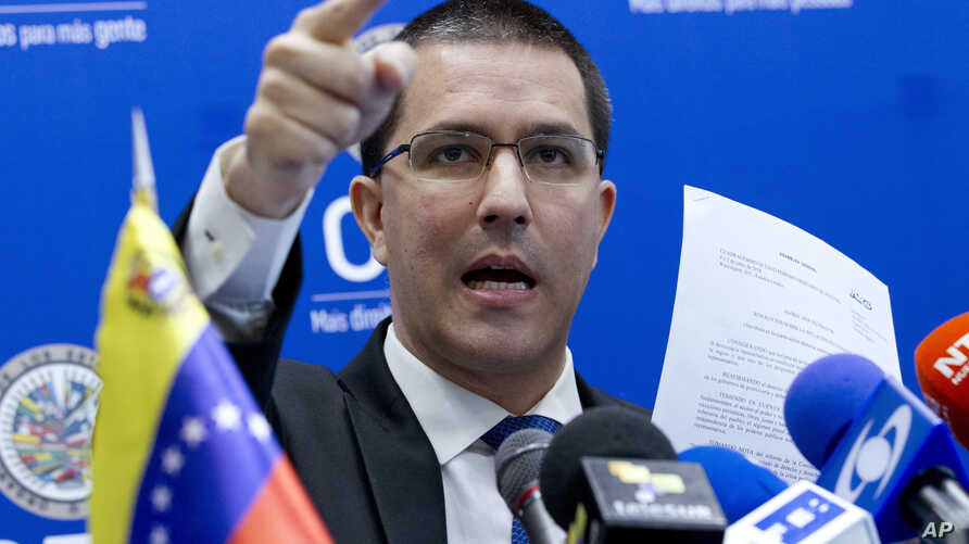 FILE - Venezuela's Foreign Minister Jorge Arreaza gives a news conference at the Organization of American States (OAS) in Washington, June 6, 2018.