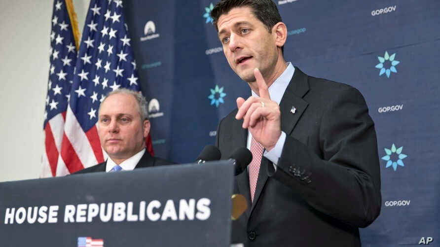 House Speaker Paul Ryan, joined by House Majority Whip Steve Scalise, left, meets with reporters on Capitol Hill, Nov. 17, 2015, following a GOP strategy session.