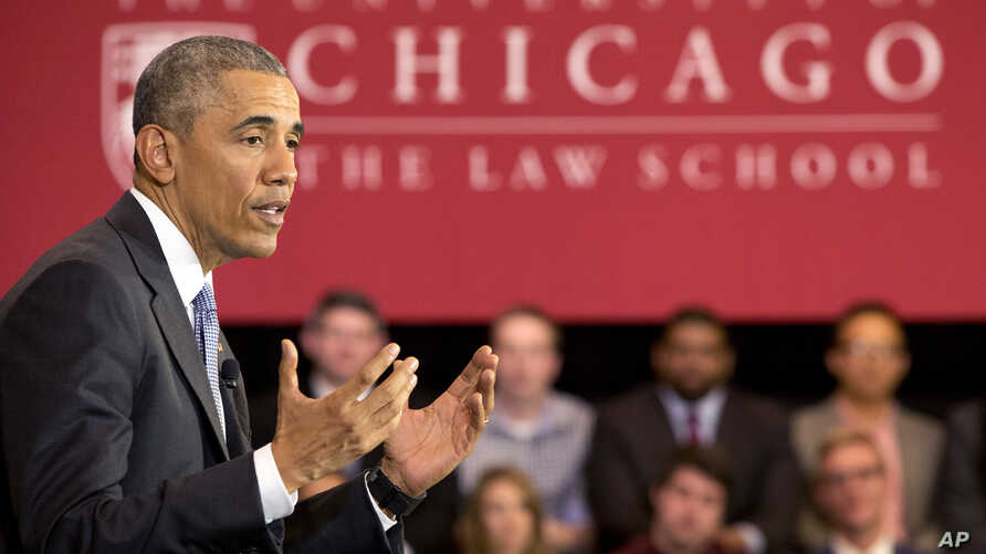 President Barack Obama speaks about his Supreme Court nominee Merrick Garland at the University of Chicago Law School in Chicago, April 7, 2016.