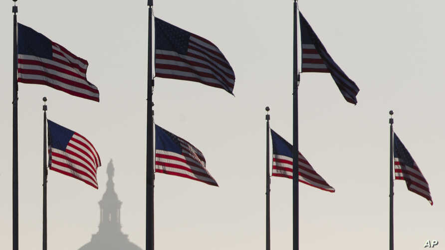 The US Capitol Dome is seen in the distance as American flags fly on the National Mall around the base of the Washington Monument in Washington, D.C., Oct. 15, 2013.