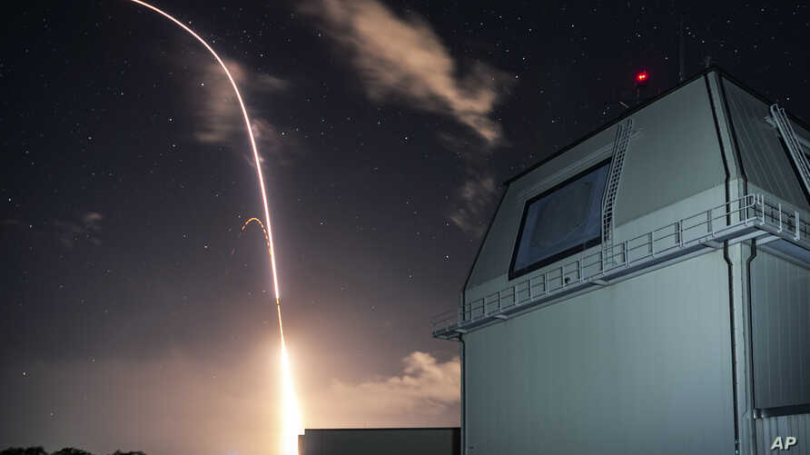 FILE - This Monday, Dec. 10, 2018, file photo provided by the U.S. Missile Defense Agency (MDA) shows the launch of the U.S. military's land-based Aegis missile defense testing system. (Mark Wright/Missile Defense Agency via AP, File)