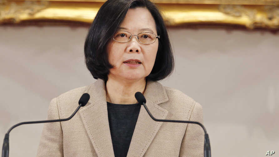 FILE - Taiwanese President Tsai Ing-wen delivers a speech during the New Year's press conference in Taipei, Taiwan, Jan. 1, 2019. Taiwan's official Central News Agency reports that March 21- 28, Tsai is embarking on a tour of diplomatic allies in the...