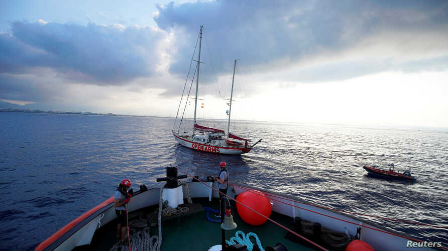 The NGO Proactiva Open Arms rescue boat Astral sails to Palma de Mallorca port, Spain, July 21, 2018.