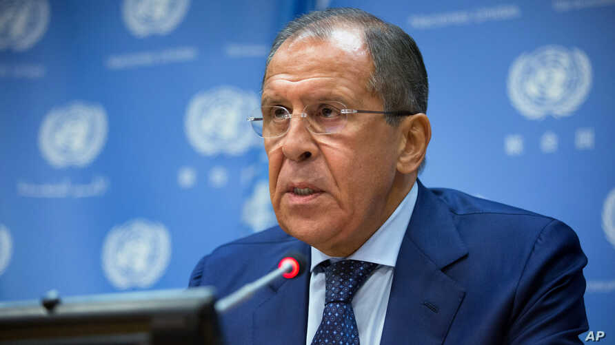 Russian Foreign Minister Sergei Lavrov delivers remarks during a news briefing at United Nations headquarters, Oct. 1, 2015.