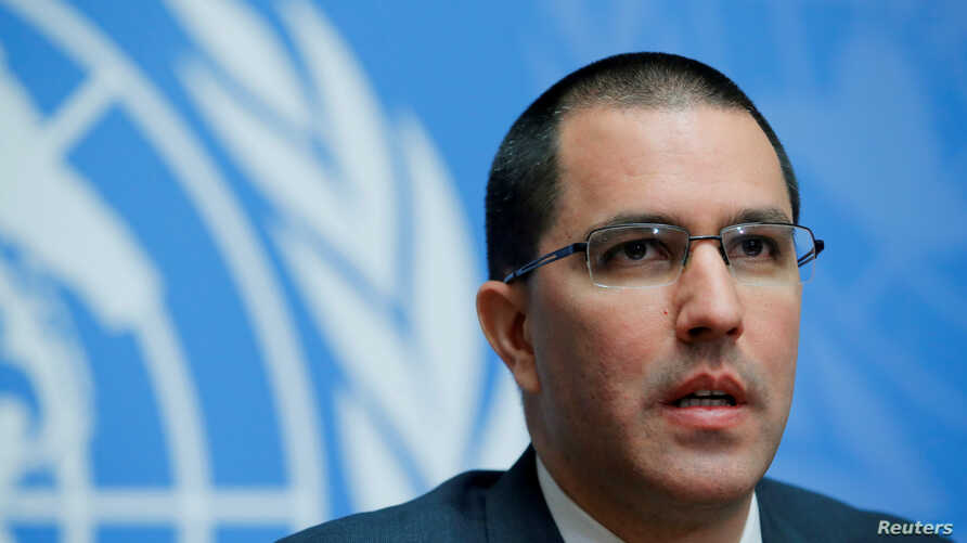 Venezuela's Foreign Minister Jorge Arreaza attends a news conference during the Human Rights Council at the United Nations in Geneva, Switzerland, Feb. 27, 2018.