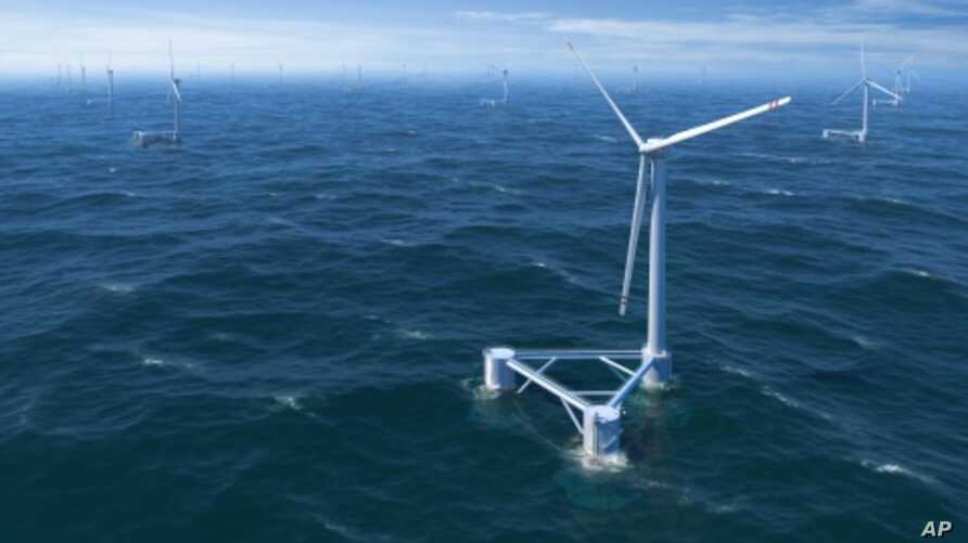 Rendering of floating offshore wind farm