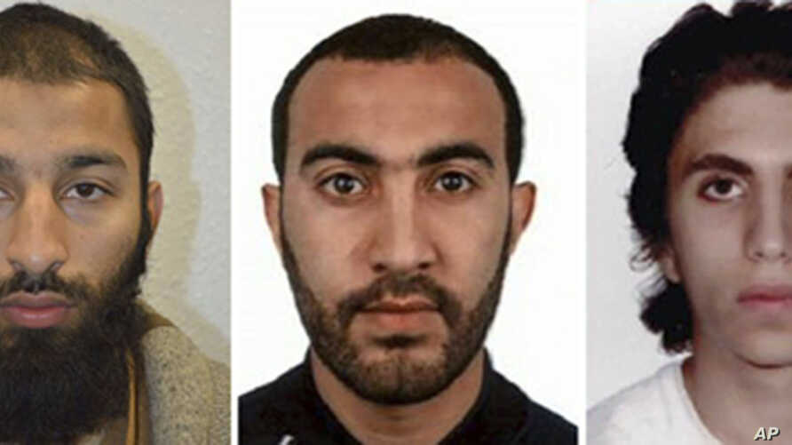 A combo handout issued by the Metropolitan Police, June 6, 2017, shows Khuram Shazad Butt (L), Rachid Redouane (C), and Youssef Zaghba who have been named as the suspects in Saturday's attack at London Bridge. (Metropolitan Police via AP)