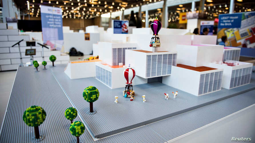 A LEGO model is displayed during a news conference in Copenhagen, Denmark, Feb. 16, 2017 ahead of the September opening of the LEGO House Experience Center in Billund.