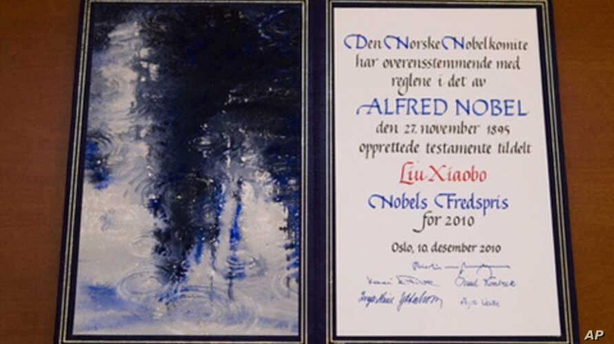 The Nobel diploma is pictured in Oslo during the ceremony for the Nobel Laureate and dissident Liu Xiaobo at the city hall in Oslo, on Dec. 10, 2010.