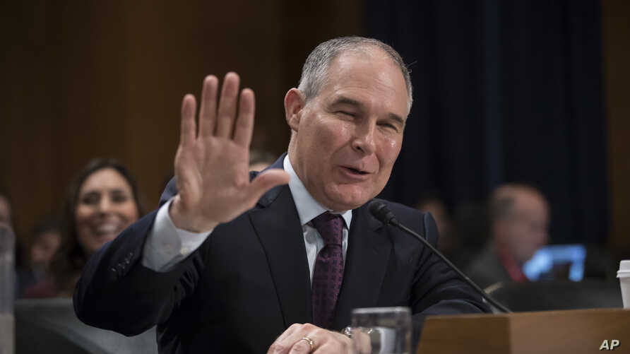 Environmental Protection Agency Administrator-designate, Oklahoma Attorney General Scott Pruitt testifies on Capitol Hill in Washington, Jan. 18, 2017, at his confirmation hearing before the Senate Environment and Public Works Committee.