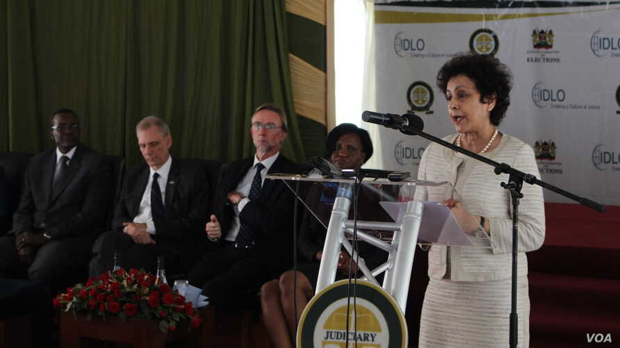 Irene Khan, the director general of the International Development Law Organization, speaks at the launch of a report detailing recommendations ahead of Kenya's August polls. (R. Ombuor/VOA)