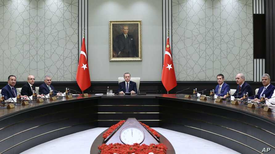 Turkey Military Coup: Turkish President Recep Tayyip Erdogan leads a cabinet meeting at the Presidential Palace in Ankara on Monday, Aug. 15, 2016.