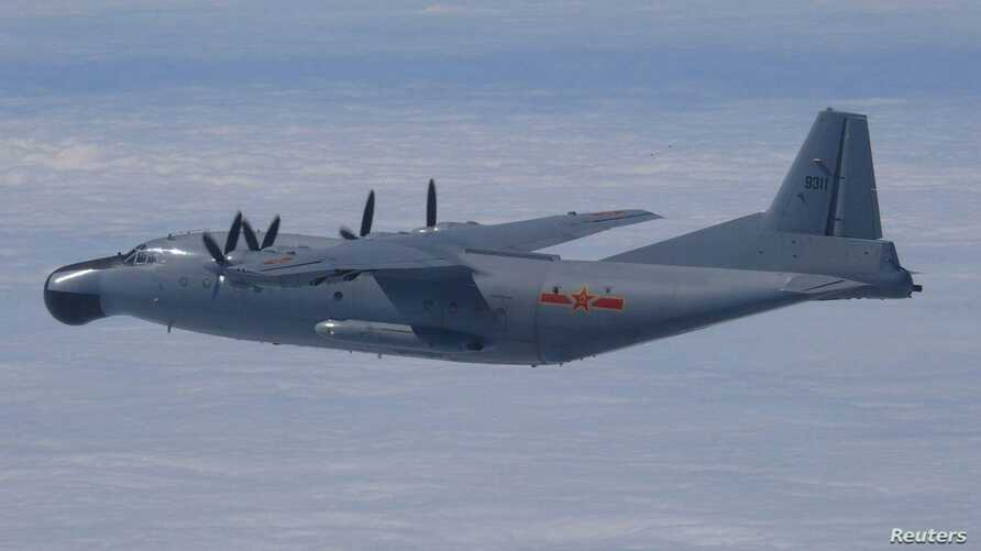 Chinese military Y-8 airborne early warning plane flies through airspace between Okinawa's main island and smaller Miyako island, southern Japan, Oct. 27, 2013.