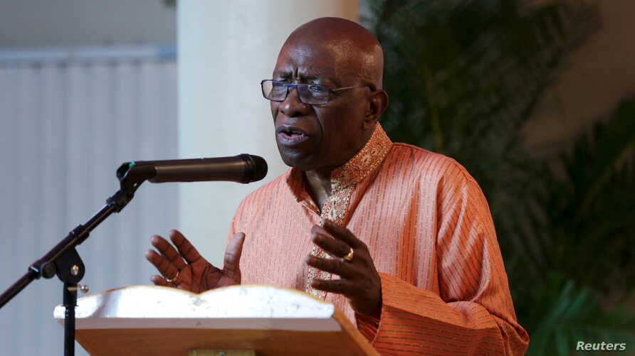 Former FIFA Vice President Jack Warner addresses the audience during a ceremony in celebration of Indian Arrival Day organized by his political Independent Liberal Party in Chaguanas, Trinidad and Tobago, May 29, 2015.