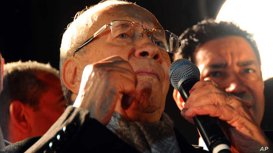 Tunisian presidential candidate Beji Caid Essebsi gives a speech in front his supporters after the second round of the country's presidential election, in Tunis, Sunday, Dec. 21, 2014.