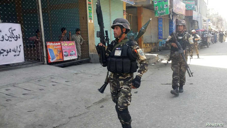 Afghan security forces arrive at the site of an attack in Jalalabad city, eastern Afghanistan May 17, 2017.