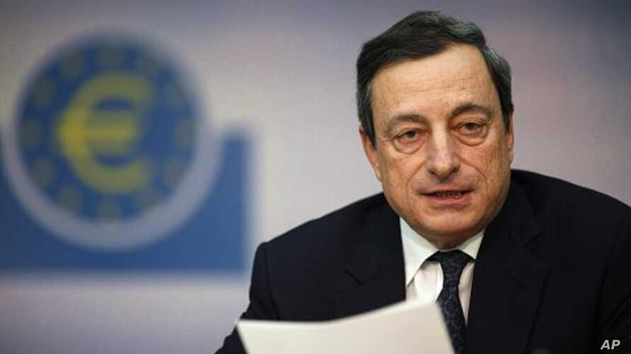 The European Central Bank (ECB) President Mario Draghi speaks during the monthly news conference in Frankfurt, December 8, 2011.