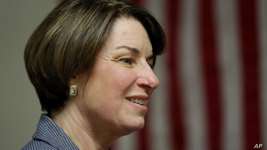 2020 Democratic presidential candidate Sen. Amy Klobuchar speaks at the Ankeny Area Democrats' Winter Banquet, Feb. 21, 2019, in Des Moines, Iowa.