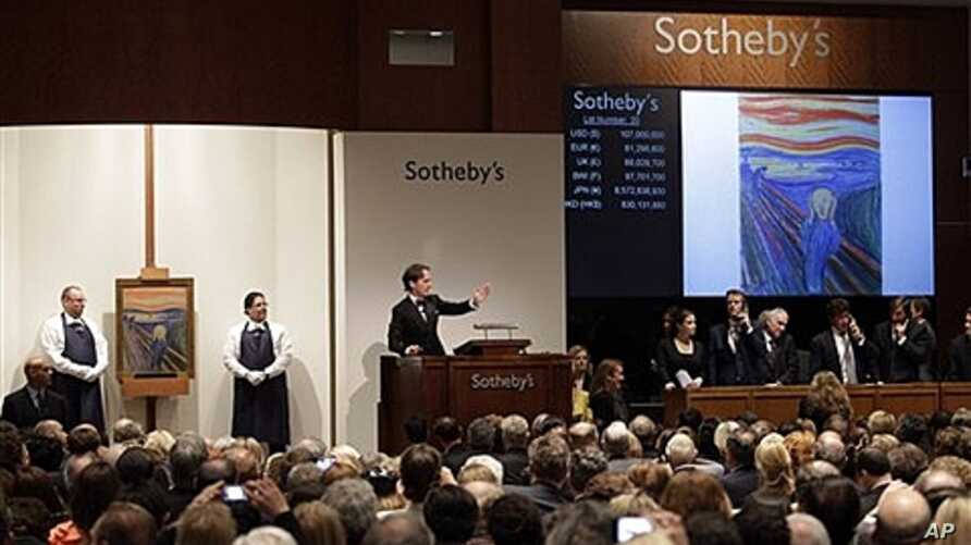 "Edvard Munch's ""The Scream"" auctioned at Sotheby's, New York, May 2, 2012."