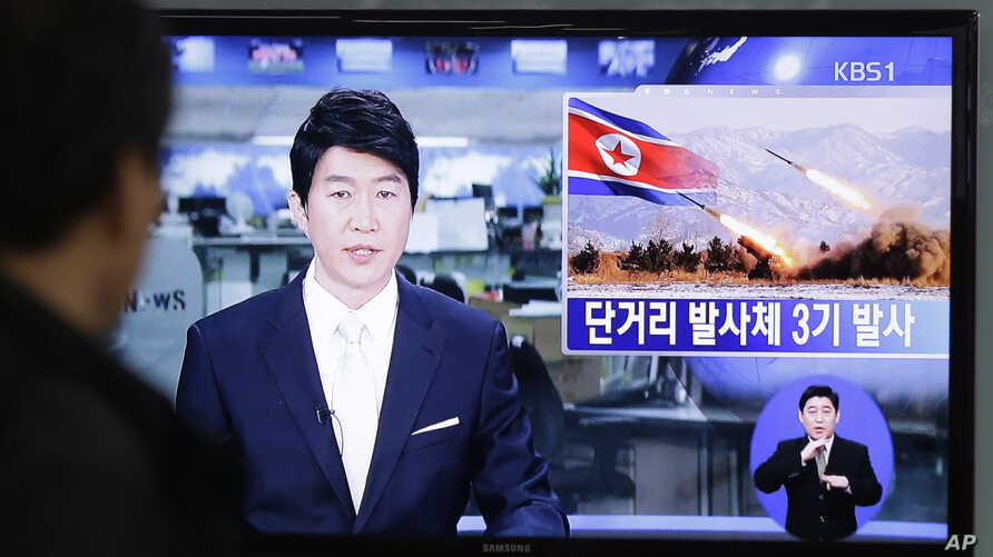 A South Korean man watches a TV news reporting missile launch conducted by North Korea, in Seoul, South Korea, Saturday, May 18, 2013.