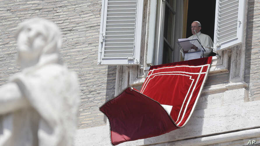 Pope Francis delivers his message during the Regina Coeli noon prayer in St. Peter's Square at the Vatican, May 21, 2017.