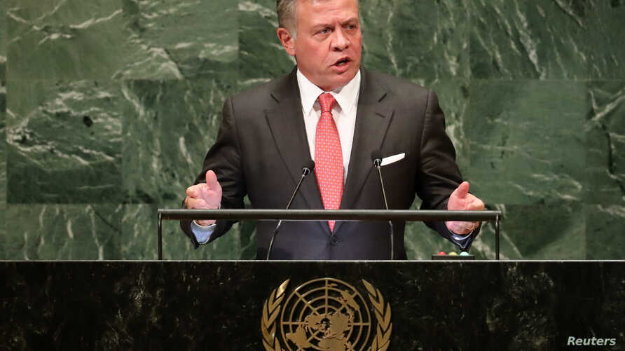Jordan's King Abdullah II addresses the 73rd session of the United Nations General Assembly at U.N. headquarters in New York, Sept. 25, 2018.