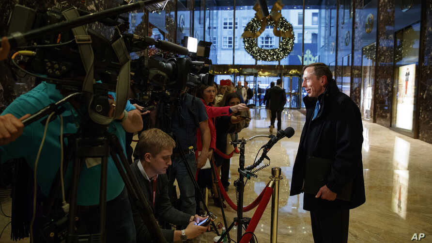 Former CIA director retired Gen. David Petraeus talks with reporters at Trump Tower after a meeting with President-elect Donald Trump, Nov. 28, 2016, in New York.