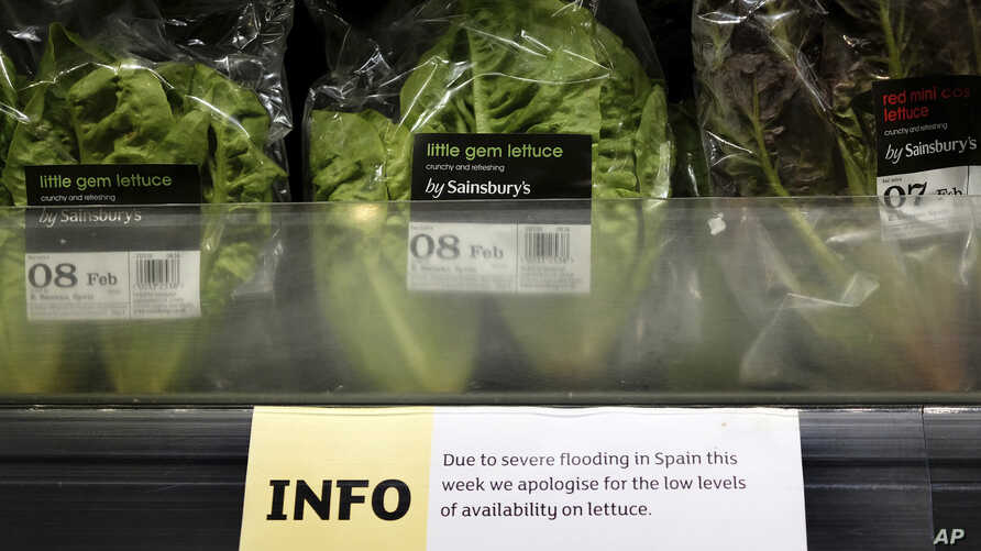 A sign warning of lettuce shortages is displayed in a supermarket in London, Feb. 3, 2017.