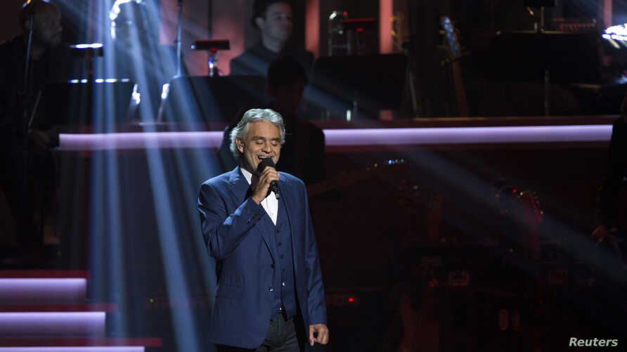 """Singer Andrea Bocelli performs """"I Just Called To Say I Love You"""" during the taping of """"Stevie Wonder: Songs In The Key Of Life - An All-Star Grammy Salute"""" concert at Nokia Theatre in Los Angeles, California, Feb. 10, 2015."""