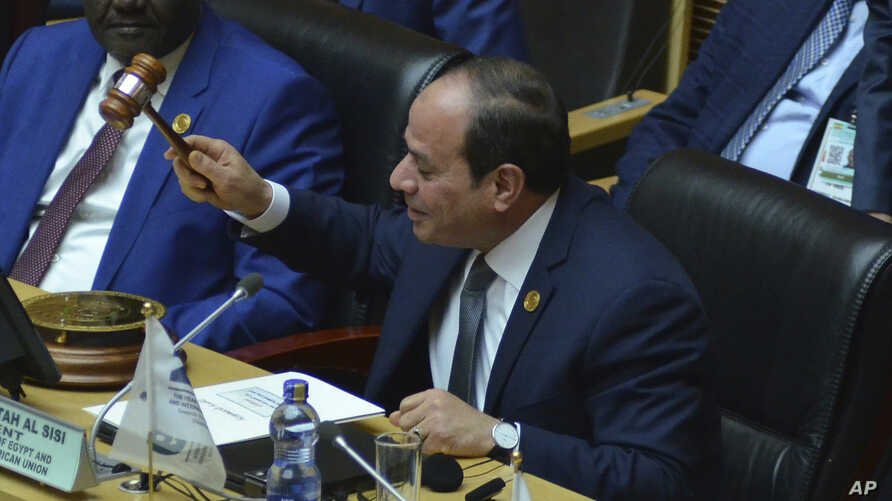 Egyptian President Abdel Fattah al-Sisi, the new chairman of the African Union, at the 32nd African Union Summit, in Addis Ababa, Ethiopia, Feb. 10, 2019.