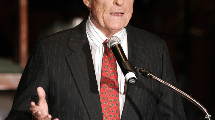 FILE - Grant Tinker, co-founder of MTM Enterprises and a former NBC chairman, delivers a speech in Beverly Hills, Calif., Dec. 14, 2006. Tinker died Nov. 28, 2016, at his home in Los Angeles.