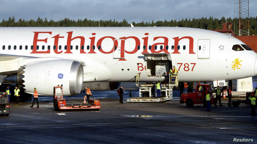 Ground crew personnel surround Ethiopian Airlines' 787 Dreamliner upon its arrival at Arlanda airport, north of Stockholm, Sweden, September 20, 2012.