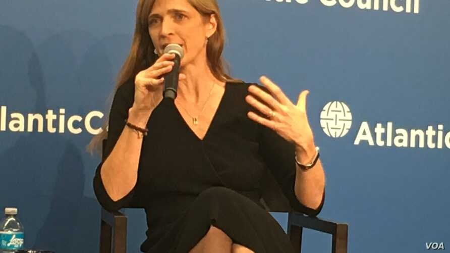 U.S. ambassador to the United Nations, Samantha Power, speaks to the Atlantic Council, Jan. 17, 2017. (S. Herman/VOA News)