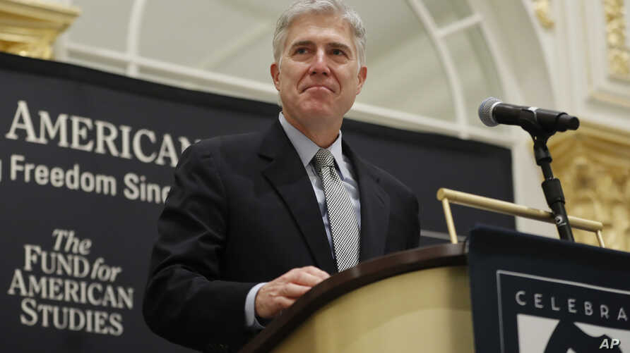 FILE - Supreme Court Justice Neil Gorsuch speaks at the 50th anniversary of the Fund for America Studies luncheon in Washington, Sept. 28, 2017.
