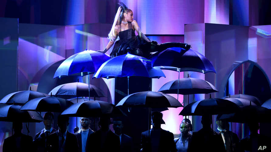 "Ariana Grande performs ""No Tears Left To Cry"" at the Billboard Music Awards at the MGM Grand Garden Arena on Sunday, May 20, 2018, in Las Vegas."