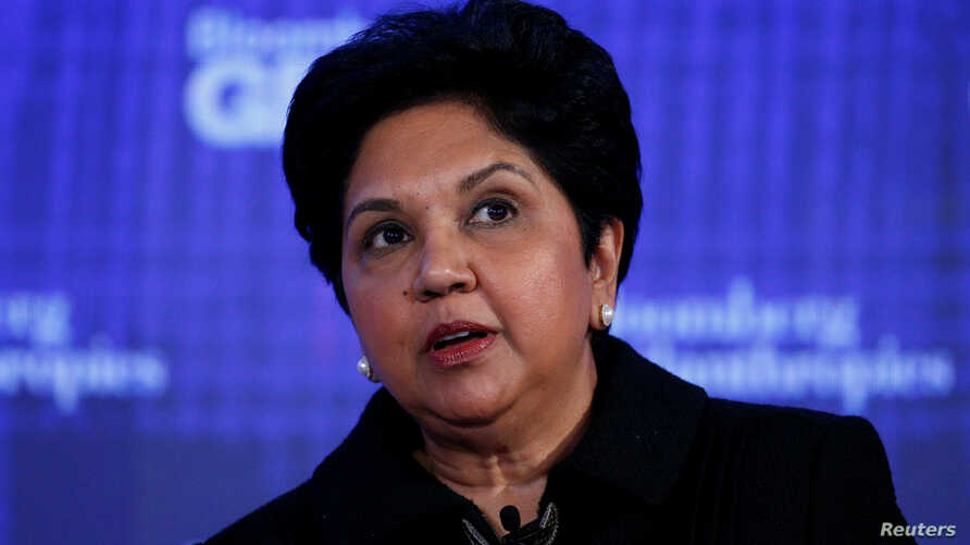CEO of PepsiCo Indra Nooyi speaks at the Bloomberg Global Business Forum in New York City, U.S., Sept. 20, 2017.
