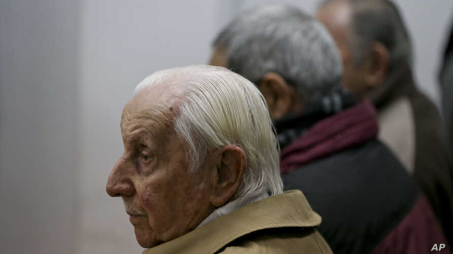 Omar Graffigna, who was head of the Air Force during Argentina's military dictatorship, attends his trial where he is accused of crimes against humanity on the verdict day in Buenos Aires, Argentina, Sept. 8, 2016.