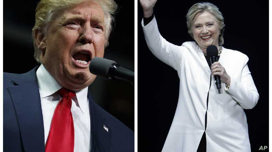 This combination of photos shows Democratic presidential candidate Hillary Clinton speaks at the Mann Center for the Performing Arts in Philadelphia, Nov. 5, 2016 and Republican presidential candidate Donald Trump speaks during a campaign rally in He