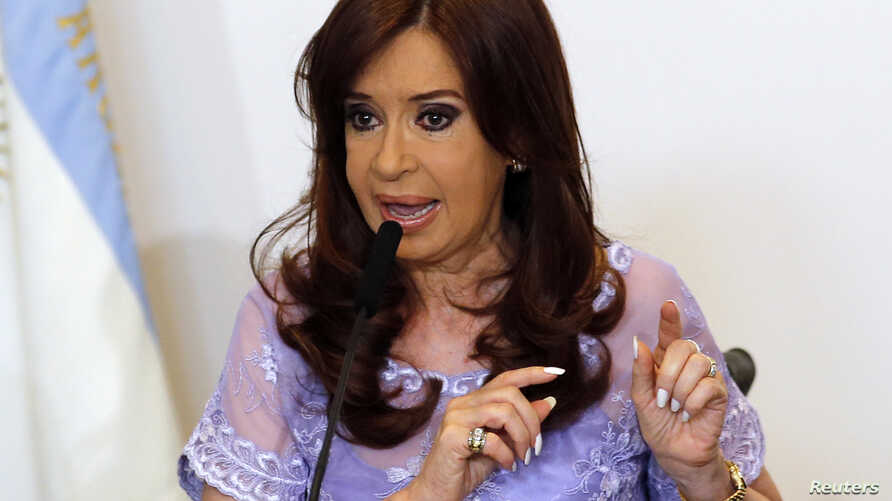 Argentina's President Cristina Fernandez de Kirchner speaks after heading a meeting with governors in Casa Rosada government house in Buenos Aires, Jan. 30, 2015.
