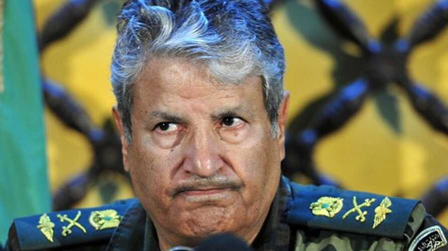 Head of the rebel forces, Abdel Fattah Younes attends a news conference in Benghazi, April 6, 2011