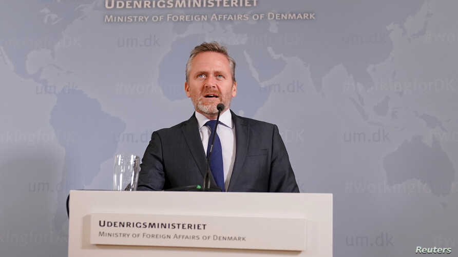 Danish Foreign Minister Anders Samuelsen speaks during a news conference in Copenhagen, Denmark, Oct. 30, 2018. (Martin Sylvest/Ritzau Scanpix/via Reuters)