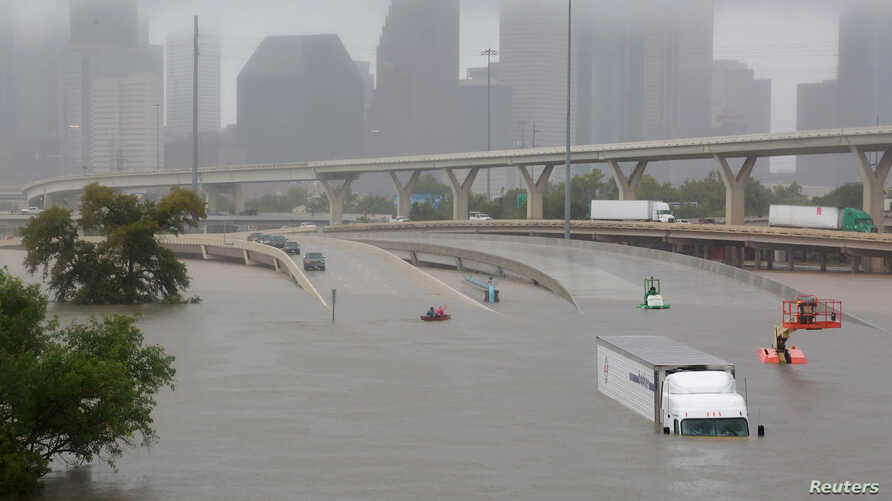 Interstate 45 is submerged from rain that arrived with Harvey in Houston, Texas, Aug. 27, 2017. With the heavy precipitation expected to last for days, it's still unclear how bad the damage will be, but there is already evidence of widespread losses....