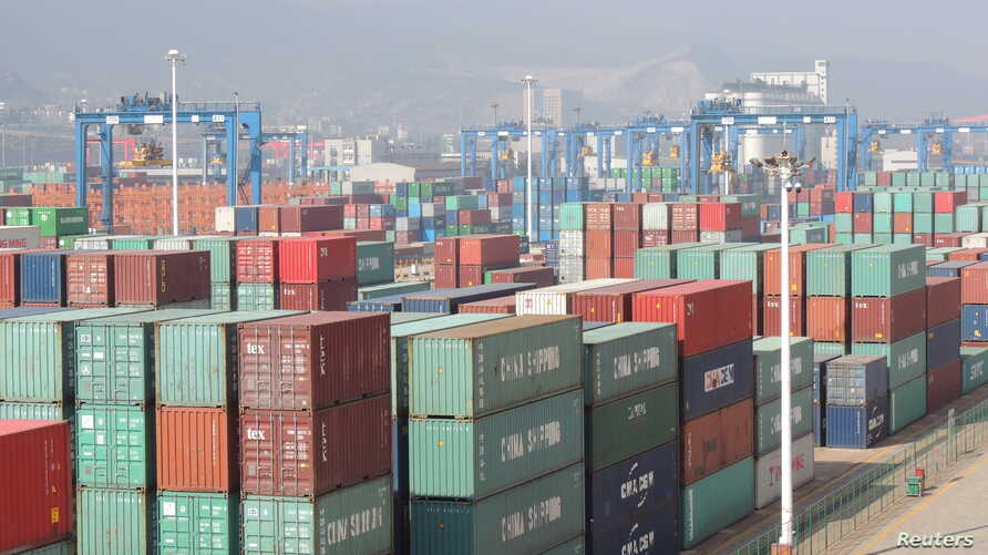 Containers are seen at a port in Lianyungang, Jiangsu Province, China, April 13, 2016.