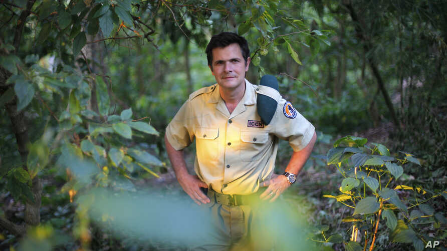FILE- In this file photo taken on Wednesday, Aug. 11,  2012,  Emmanuel de Merode, Virunga National Park director and chief warden, poses at the park headquarters in Rumangabo, some 60 kms (40 miles) north of Goma, eastern Congo. Park officials say th