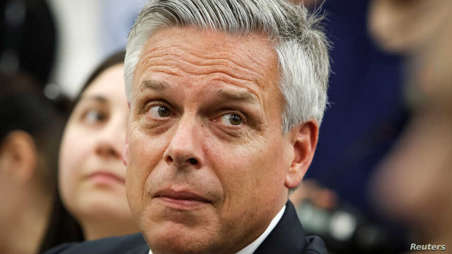 U.S. ambassador to Russia Jon Huntsman looks on during a news conference of U.S. National Security Adviser John Bolton in Moscow, June 27, 2018.