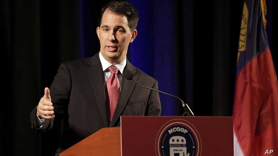 Wisconsin Gov. Scott Walker speaks during the N.C. Republican Party convention in Raleigh, North Carolina, June 5, 2015.