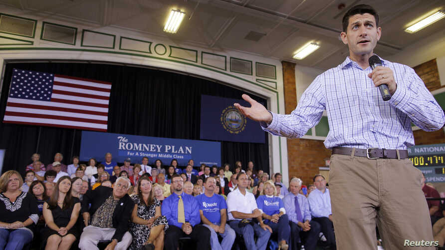 Republican vice-presidential candidate US Congressman Paul Ryan speaks to supporters in Dover, New Hampshire (file photo).