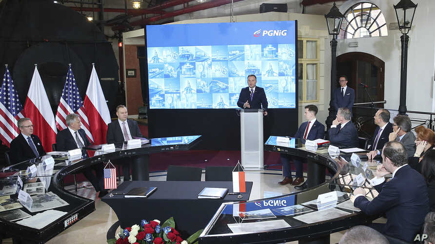 Poland's President Andrzej Duda speaks at a ceremony sealing a long-term deal for Warsaw's purchase of U.S. liquefied gas in Warsaw, Poland, Nov. 8, 2018.