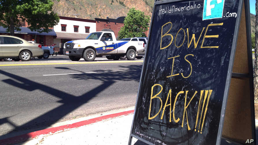 A sign celebrating the release from captivity of Sgt. Bowe Bergdahl stands on a street in the soldier's hometown of Hailey, Idaho, Wednesday, June 4, 2014.